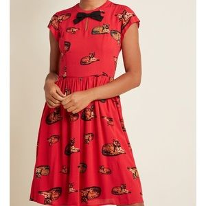 ModCloth Bow A-Line Crimson Cat Dress Red NWT XS